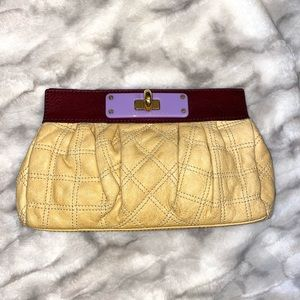Marc Jacobs quilted leather clutch yellow purple